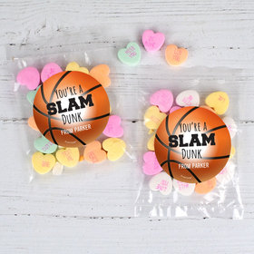 Personalized Valentine's Day Basketball 1oz Candy Bags with Conversation Hearts
