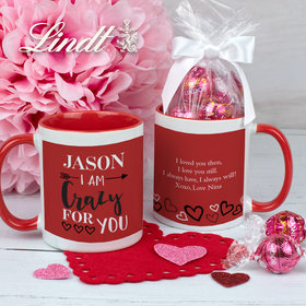 Personalized Crazy for You 11oz Mug with Lindt Truffles