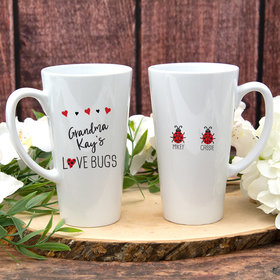 Personalized White Latte Mug (17oz) - Two Love Bugs