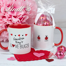 Personalized Two Love Bugs 11oz Mug with Lindt Truffles