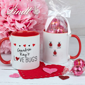 Personalized Three Love Bugs 11oz Mug with Lindt Truffles