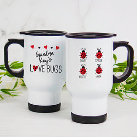 Personalized Stainless Steel Travel Mug (14oz) - Four Love Bugs