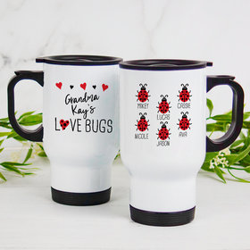 Personalized Stainless Steel Travel Mug (14oz) - Six Love Bugs