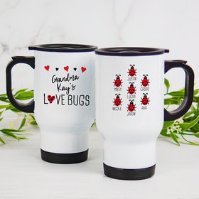 Personalized Stainless Steel Travel Mug (14oz) - Seven Love Bugs