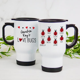 Personalized Stainless Steel Travel Mug (14oz) - Eight Love Bugs
