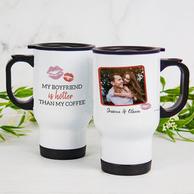 Personalized Stainless Steel Travel Mug (14oz) - My Boyfriend is Hotter Than My Coffee