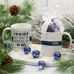 Personalized Retired Working for Wife 11oz Mug with Lindt Truffles
