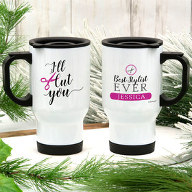 Personalized I'll Cut You Stainless Steel Travel Mug (14oz)