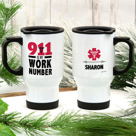 Personalized 911 Is My Work Number Stainless Steel Travel Mug (14oz)