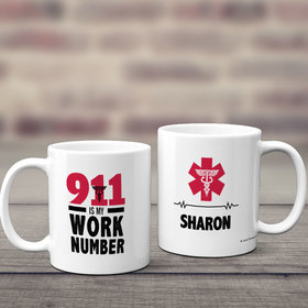 Personalized 911 Is My Work Number 11oz Mug Empty