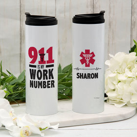 Personalized 911 Is My Work Number Stainless Steel Thermal Tumbler (16oz)