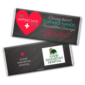 Personalized Healthcare Worker Caring Heart Logo Chocolate Bar
