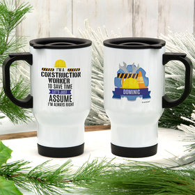 Personalized Construction Worker Stainless Steel Travel Mug (14oz)