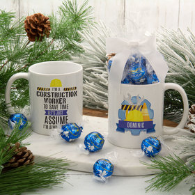Personalized Construction Worker 11oz Mug with Lindt Truffles