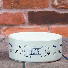 Personalized Large Pet Bowl - Dog Name Icon