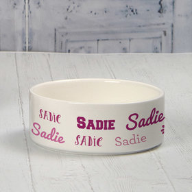 Personalized Small Pet Bowl - Pink Dog Repeating Name