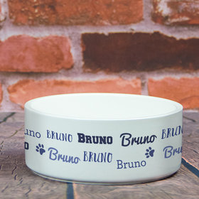 Personalized Large Pet Bowl - Blue Dog Repeating Name