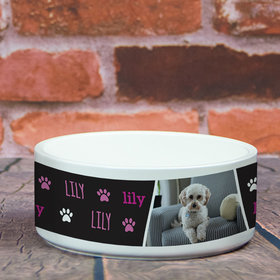 Personalized Large Pet Bowl - Pink Pet Photo