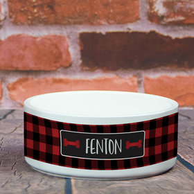 Personalized Large Pet Bowl - Buffalo Checker