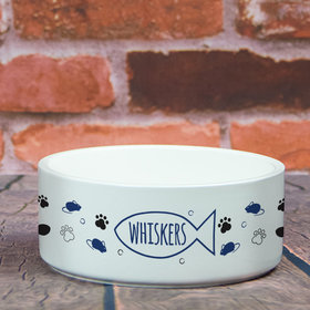 Personalized Large Pet Bowl - Cat Name Icon
