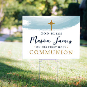 Personalized Communion Yard Sign - Watercolor God Bless