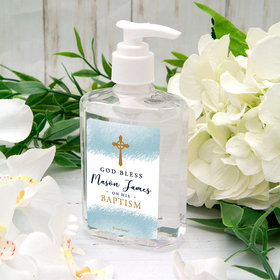 Personalized Baptism Hand Sanitizer Watercolor God Bless 8 oz bottle
