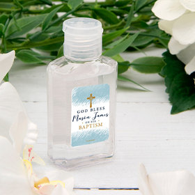 Personalized Baptism Hand Sanitizer Watercolor God Bless 2 oz bottle