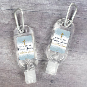 Personalized Confirmation Hand Sanitizer with Carabiner Watercolor God Bless 8.oz bottle