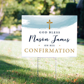 Personalized Confirmation Yard Sign - Watercolor God Bless