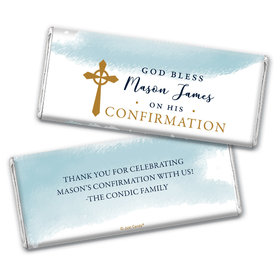Personalized Confirmation God Bless Watercolor Chocolate Bars
