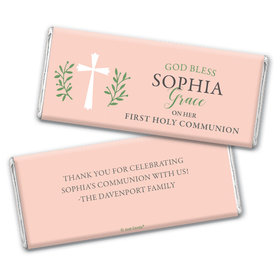 Personalized Communion God Bless Pink Chocolate Bars