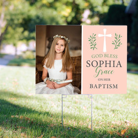 Personalized Baptism Yard Sign - Pink God Bless