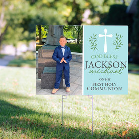 Personalized Communion Yard Sign - Blue God Bless