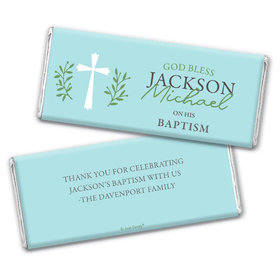 Personalized Baptism God Bless Blue Chocolate Bars