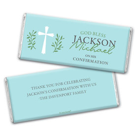 Personalized Confirmation God Bless Blue Chocolate Bars