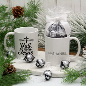 Personalized Y'all Need Jesus 11oz Mug with Lindt Truffles