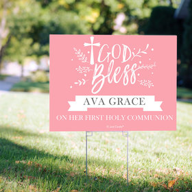 Personalized Communion Yard Sign - Floral God Bless
