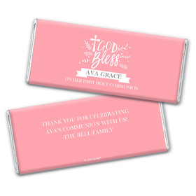 Personalized Communion God Bless Floral Chocolate Bars