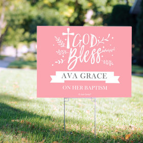 Personalized Baptism Yard Sign - Floral God Bless