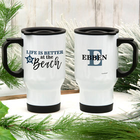 Personalized Life is Better at the Beach Stainless Steel Travel Mug (14oz)