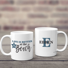 Personalized Life is Better at the Beach 11oz Mug Empty