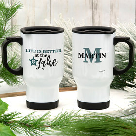 Personalized Life is Better at the Lake Stainless Steel Travel Mug (14oz)