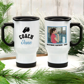 Personalized Stainless Steel Travel Mug (14oz) - Coach Whistle with Photo