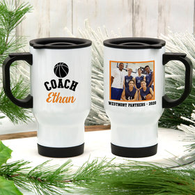 Personalized Stainless Steel Travel Mug (14oz) - Basketball Coach with Photo