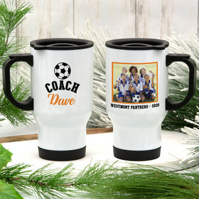 Personalized Stainless Steel Travel Mug (14oz) - Soccer Coach with Photo