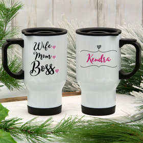 Personalized Stainless Steel Travel Mug (14oz) - Wife Mom Boss