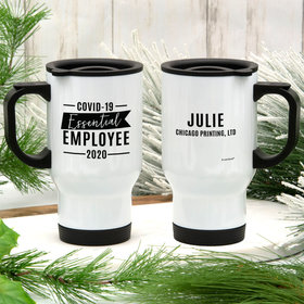 Personalized Covid-19 Essential Employee Stainless Steel Travel Mug (14oz)
