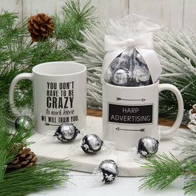 Personalized Crazy to Work Here 11oz Mug with Lindt Truffles