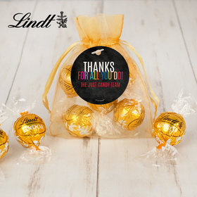 Personalized Thank you Lindt Truffle Organza Bag Colorful Thanks!