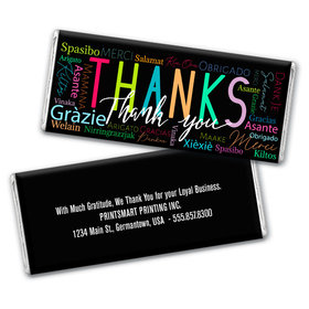 Personalized Thanks Language Chocolate Bar